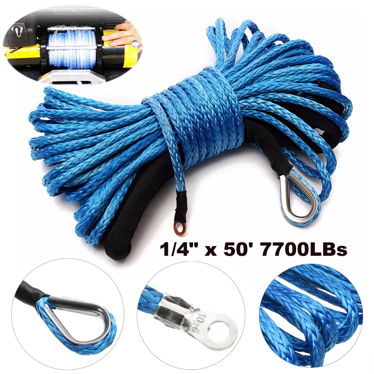 6MMx15M 50inch Winch Rope Synthetic 7700lbs SK78 Boat Car Recovery Strap Fairlead
