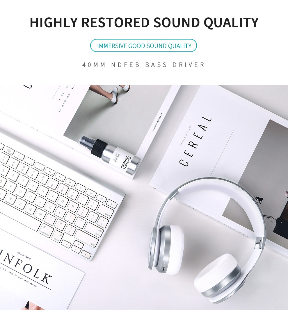 Picun P26 3D HiFi Stereo Folable Wireless Bluetooth Headphone Heavy Bass Headset for iPhone Samsung