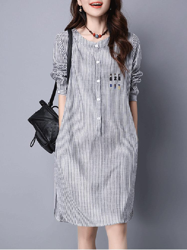 Casual Women Long Printed Black And White Striped Long Sleeve Dress