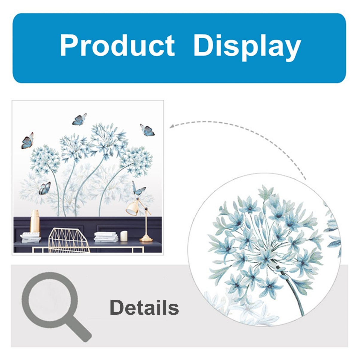 Removable Blue Dandelion Butterflies Wall Sticker Art Vinyl Decal Home Decor