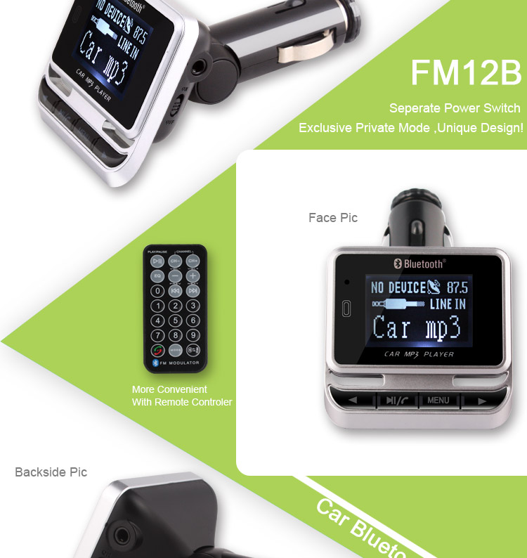 FM12B Hands Free Car Bluetoot FM Transimittervs A2DP MP3 Player With Remote Control