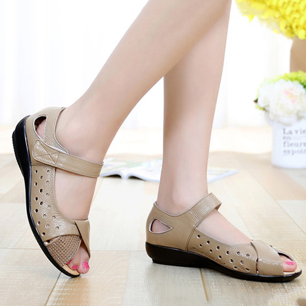 SOCOFY Large Size Peep Toe Flat Sandals