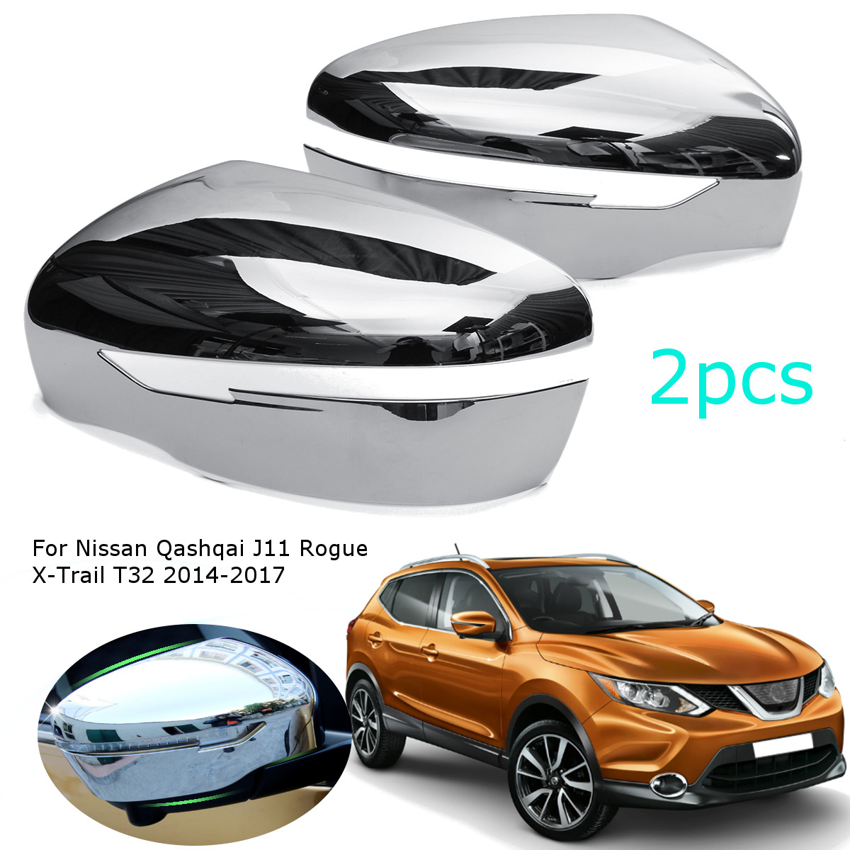 Car Chrome Styling Rearview Mirror for Nissan Qashqai J11 Rogue X-Trail T32 2014 2015 2016 2017