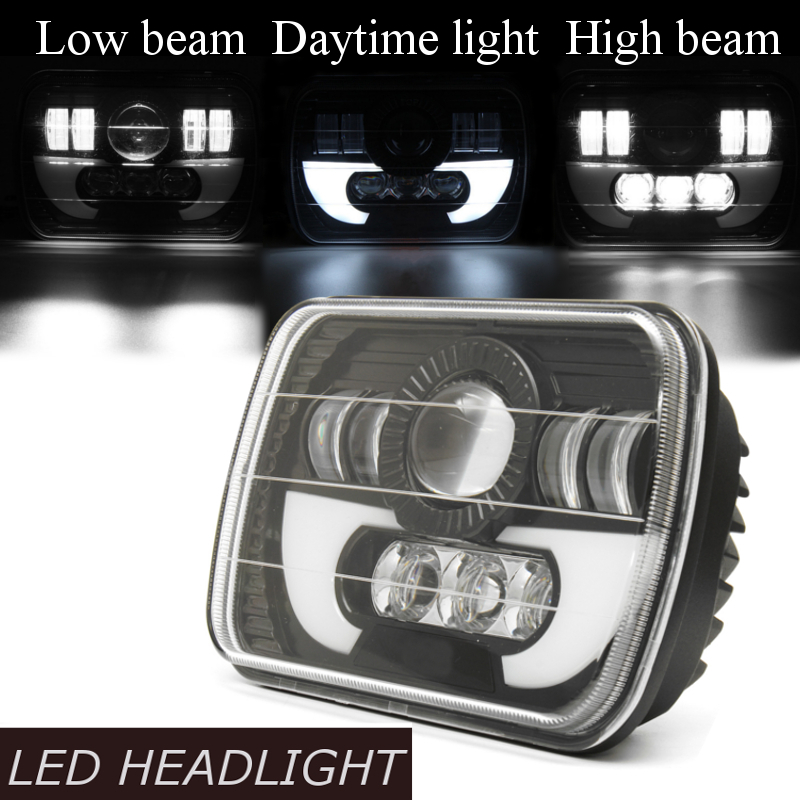 7x5Inch H4 LED Headlights Hi/low Beam Square Lamp DRL Light for Jeep YJ XJ Truck