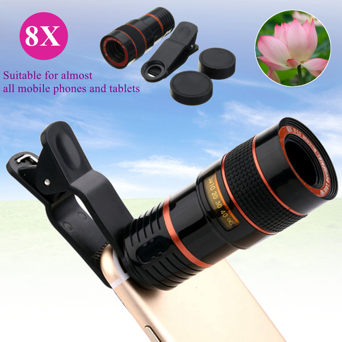 8X Zoom Black Phone Telescope Telephoto Lens with Clip for iPhone Samsung Xiaomi