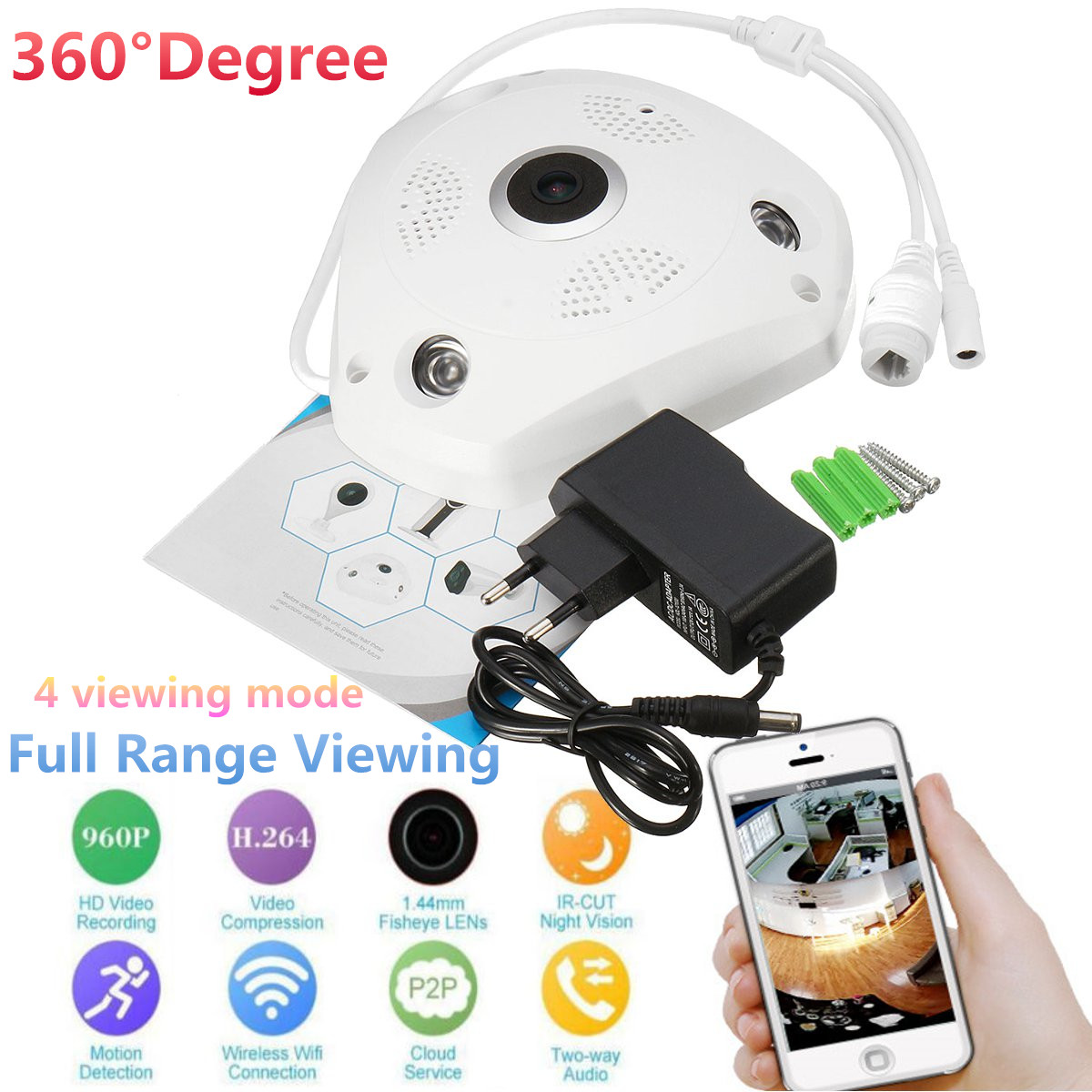 360° Panoramic View HD 960P Night Vision Wireless WiFi Camera CCTV Home Security Camera