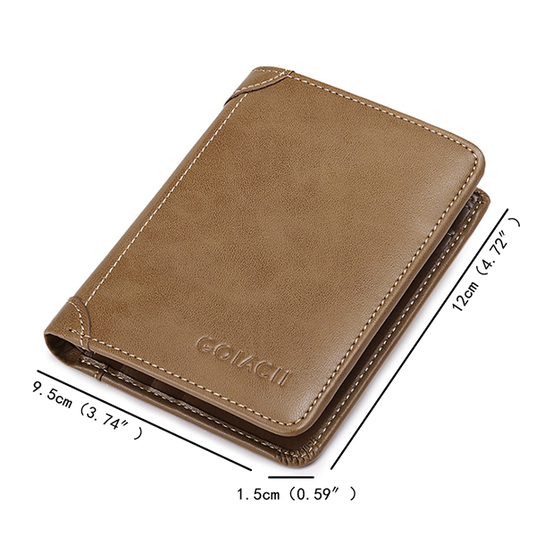 Men Genuine Leather Vintage Fashion Multi-functional Multi-slots Trifold Wallet