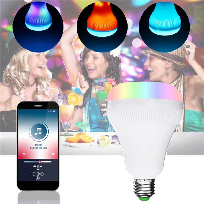 18W B22 E27 RGBW+Colorful Flame bluetooth Speaker Music Play LED Bulb Wireless Remote AC85-265V