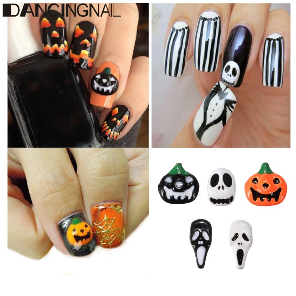 3D Halloween Alloy Pumpkin Ghost Skull Designed Pattern Nail Art Decoration