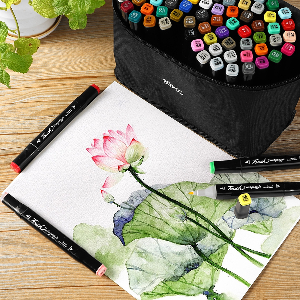 80 Colors Dual Head Art Marker Pen Sketch Set Watercolor Brush Pen Liners For Drawing Anime Design