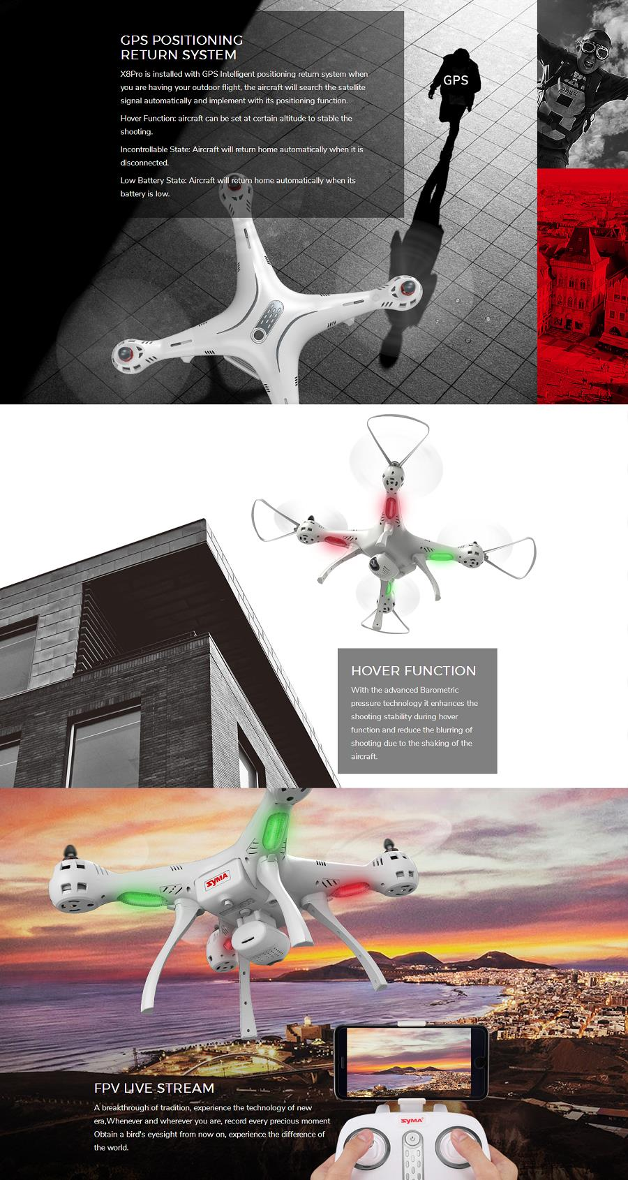 Syma X8PRO GPS With 720P WIFI FPV Camera Altitude Hold RC Drone Quadcopter
