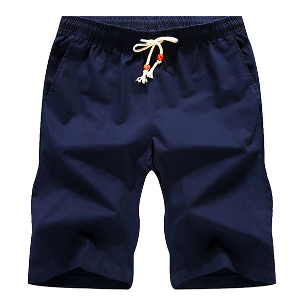 Summer Mens Casual Sports Shorts Breathable Cotton Loose Solid Color Shorts