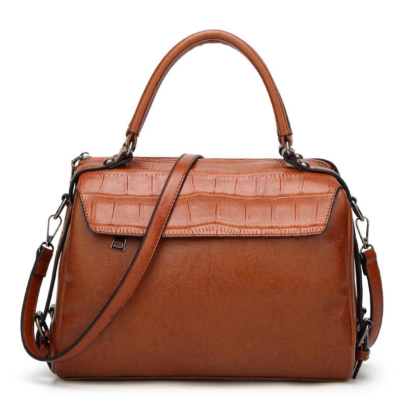 Women Vintage Oil Wax Leather Crocodile Print Handbag Crossbody Bag