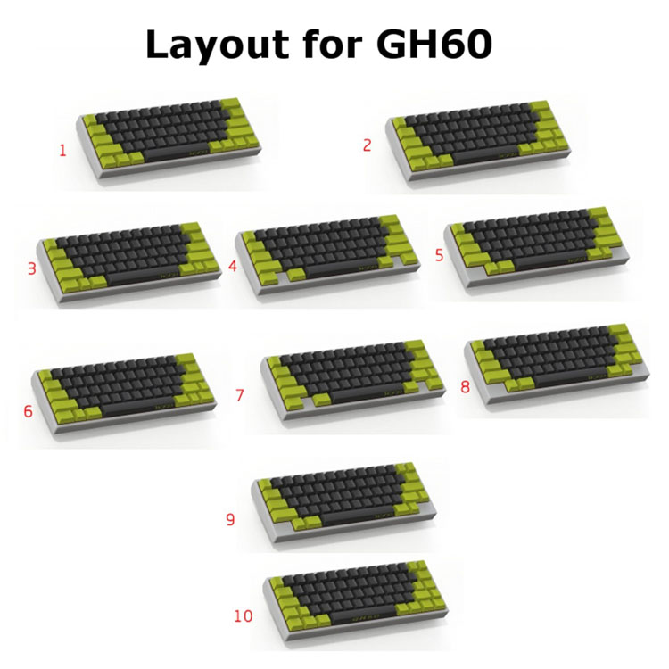GH60 DIY Mechanical Keyboard PCB Support Breathing LED 60% Cherry MX Poker2 Poker3