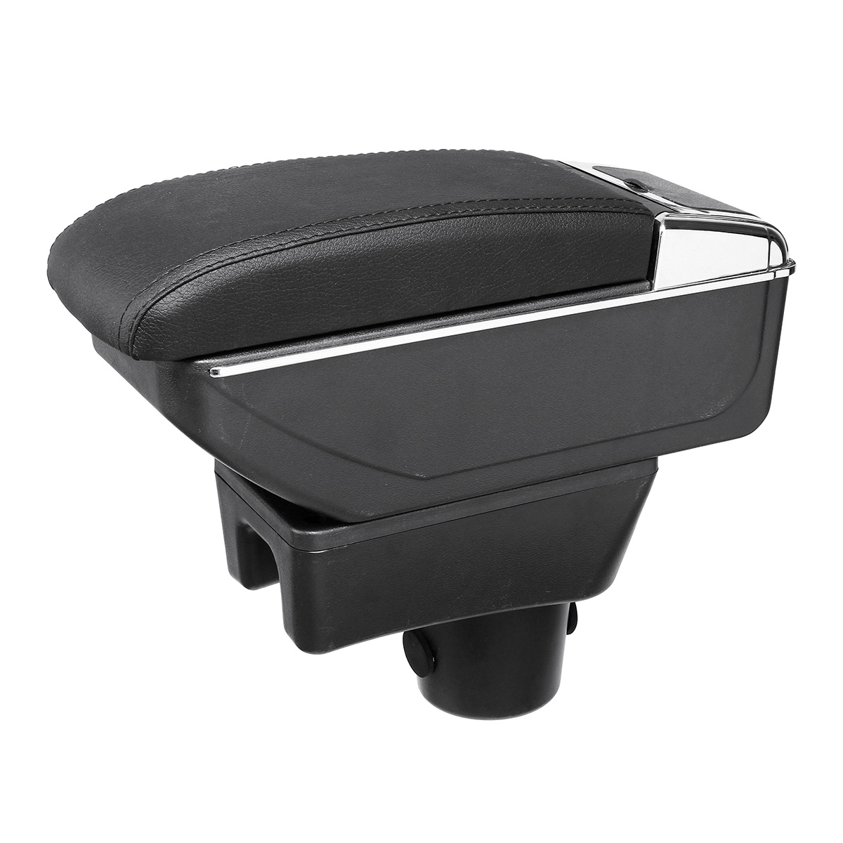 Black Leather Black Line Double Layer Armrest Car Storage Box For Mitsubishi 2014-2018