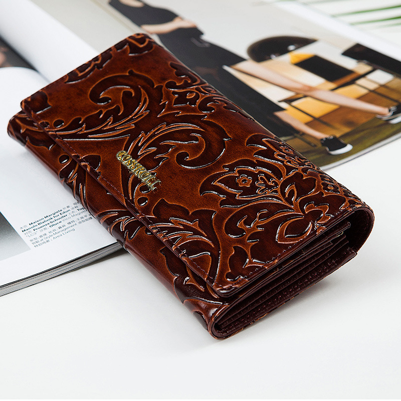Women Brenice Vintage Large Capacity 5 Banknote Compartments Floral Coin Purse Wallet