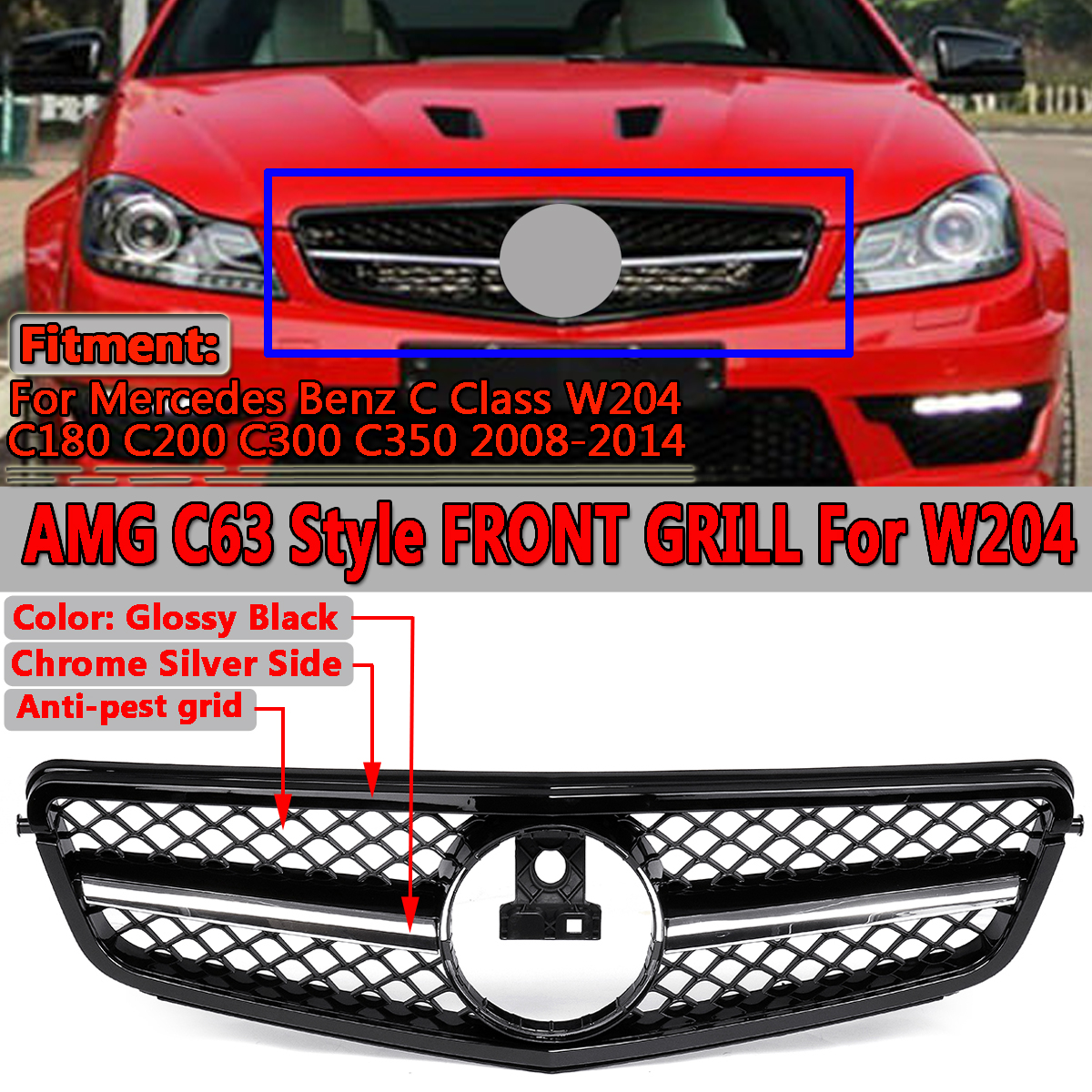 Glossy Black C63 AMG Style Front Upper Grille Grill For Mercedes Benz C Class W204 C180 C200 C300 C350 2008-2014