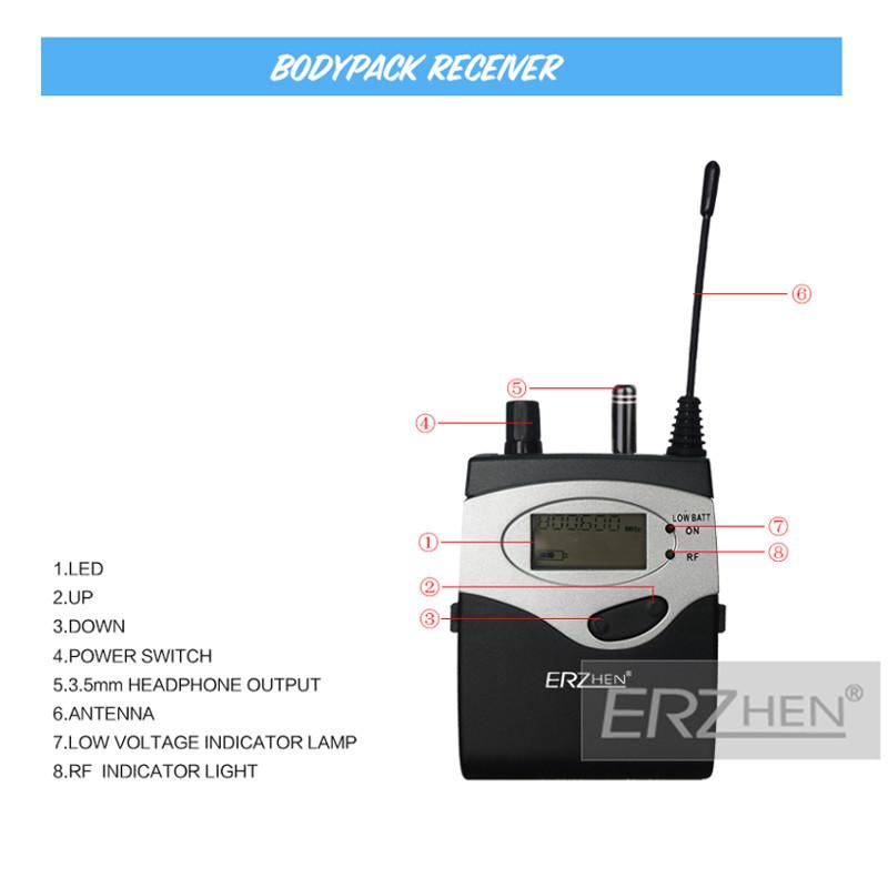 ERzhen One to Four Dual Channel Wireless Earphone KTV Karaoke Stage Microphone Monitoring System