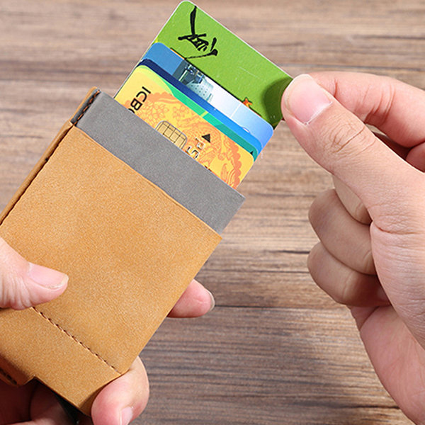 Men Women Automatic Pop up Aluminum Wallet RFID Antimagnetic Credit Card Holder