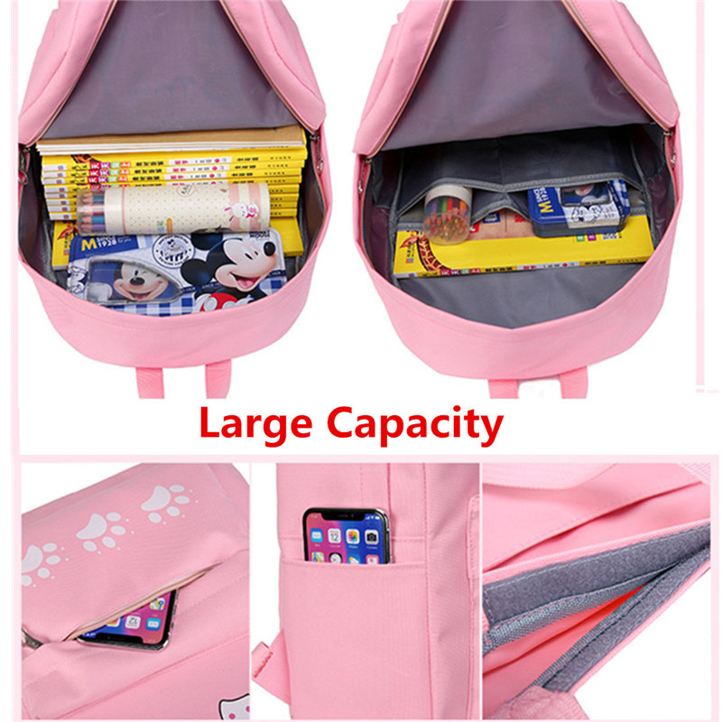 3pcs/Set Canvas Bags Backpack Girl Student Book Travel Camping Handbag Shoulder Bag Pencil Case