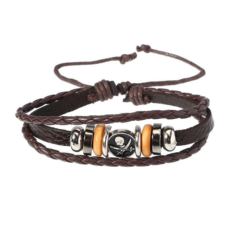 Punk Women Men's Bracelet Vintage Multilayer Woven Skull Pattern Chain Unisex