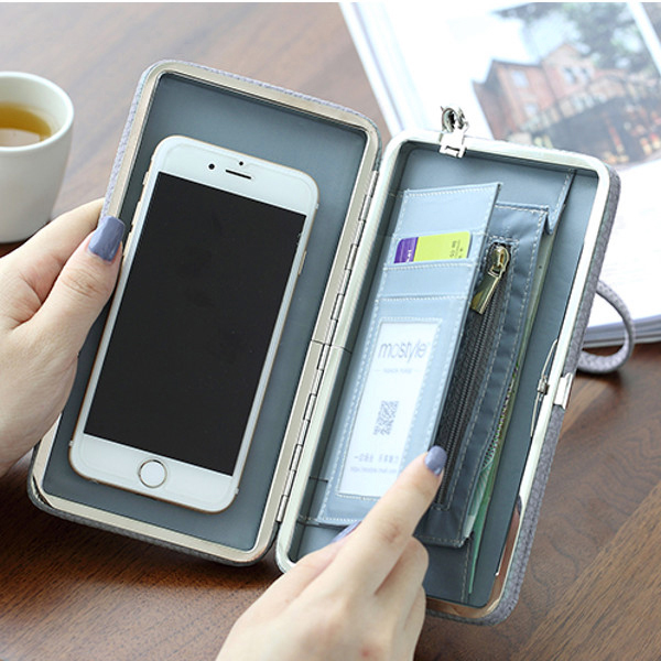 Hasp Bowknot Clutches Long Wallet Card Holder 5.5 Phone Sucker Case Bag For Iphone Huawei Samsung