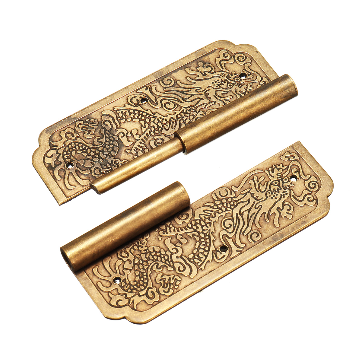 Door Hinge Chinese Furniture Brass Hardware Trunk Cabinet Door Hinges Copper Dragon 3.15'