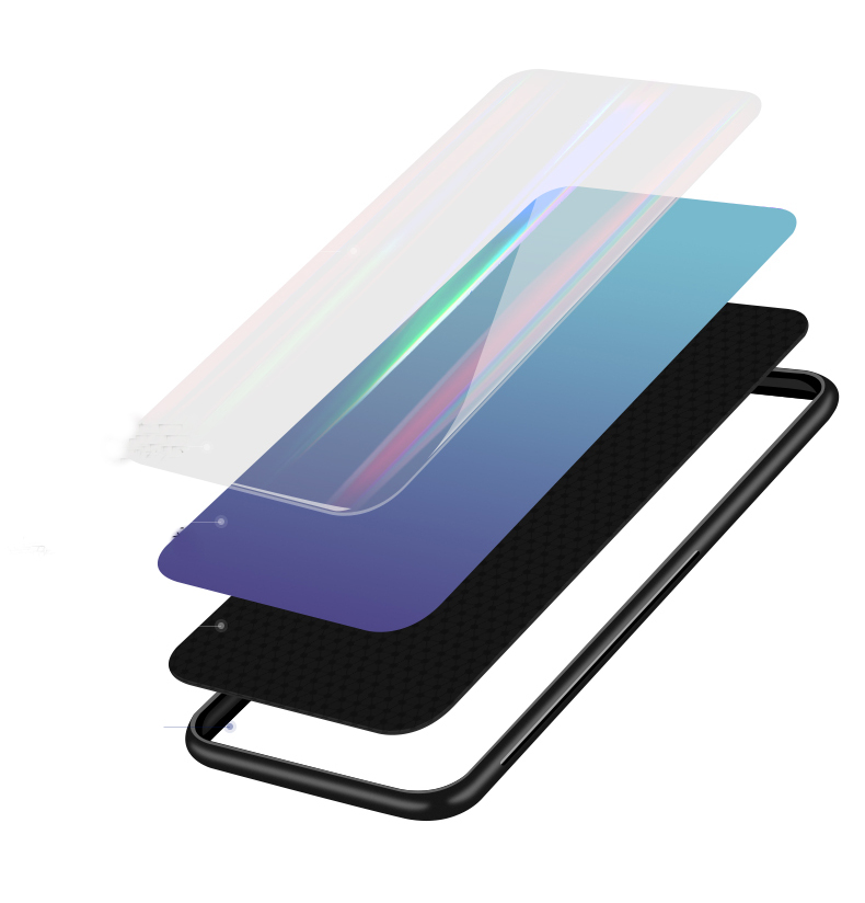 Bakeey Laser Gradient Bling Tempered Glass Shockproof Protective Case For Xiaomi Mi 8 Lite
