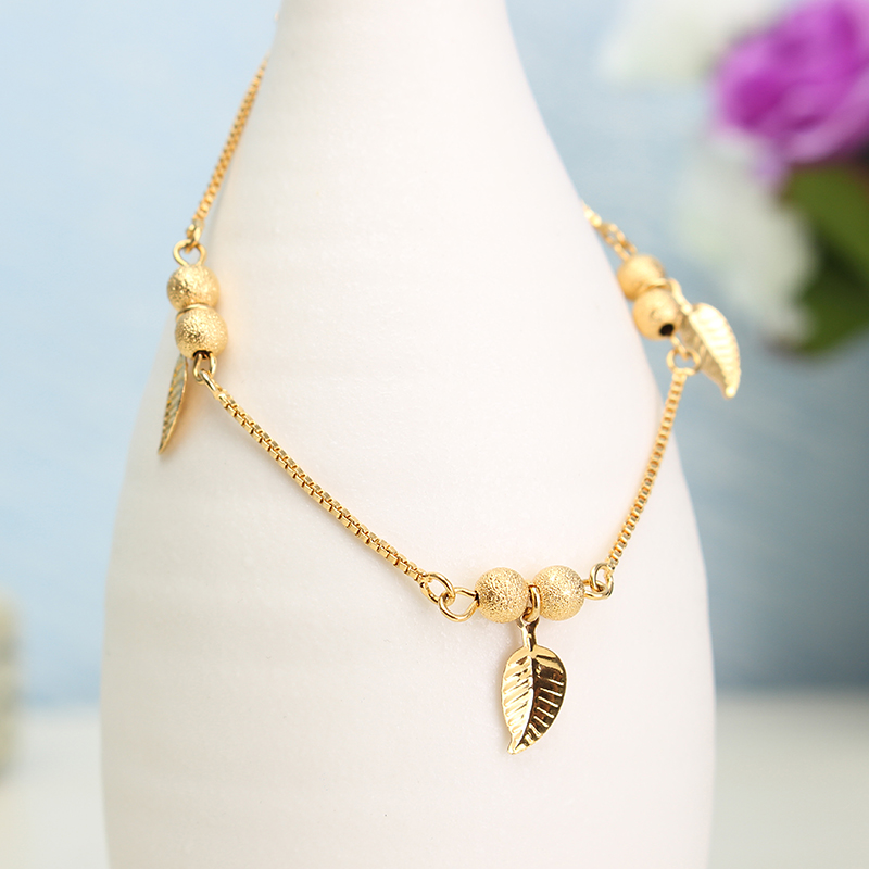 18K Gold Plated Lucky Beads Bracelet Leaves Anklets