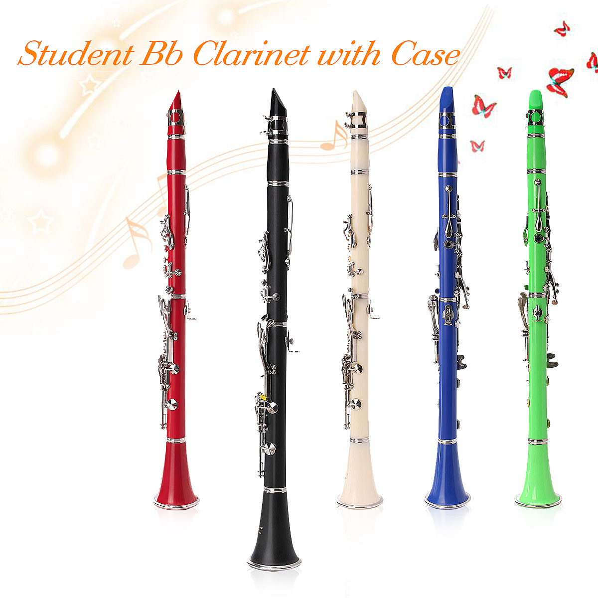 LADE 17 keys Drop B Multiple Colour Clarinet with Portable Case/Cleaning Cloth