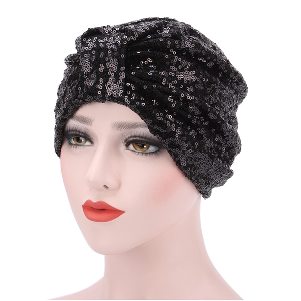 Women Bright Sequin Skullies Beanies Hat