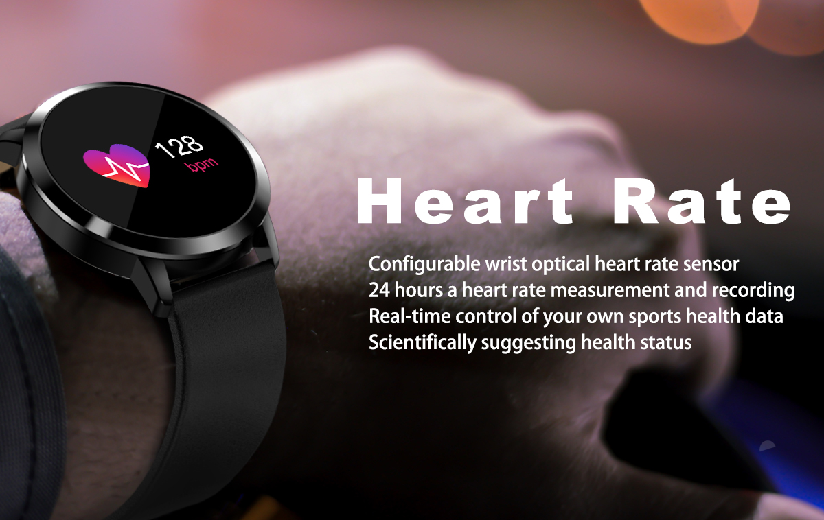 Newwear Q8 Stainless Steel 0.95 inch OLED Color Screen Blood Pressure Heart Rate Smart Watch