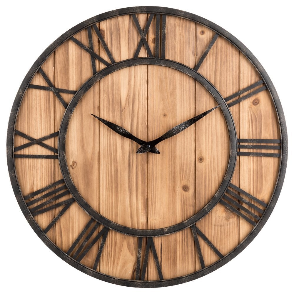 Loskii Creative Round Silent Wooden Wall Clock Decorative Clock for Living Room Home Decorations