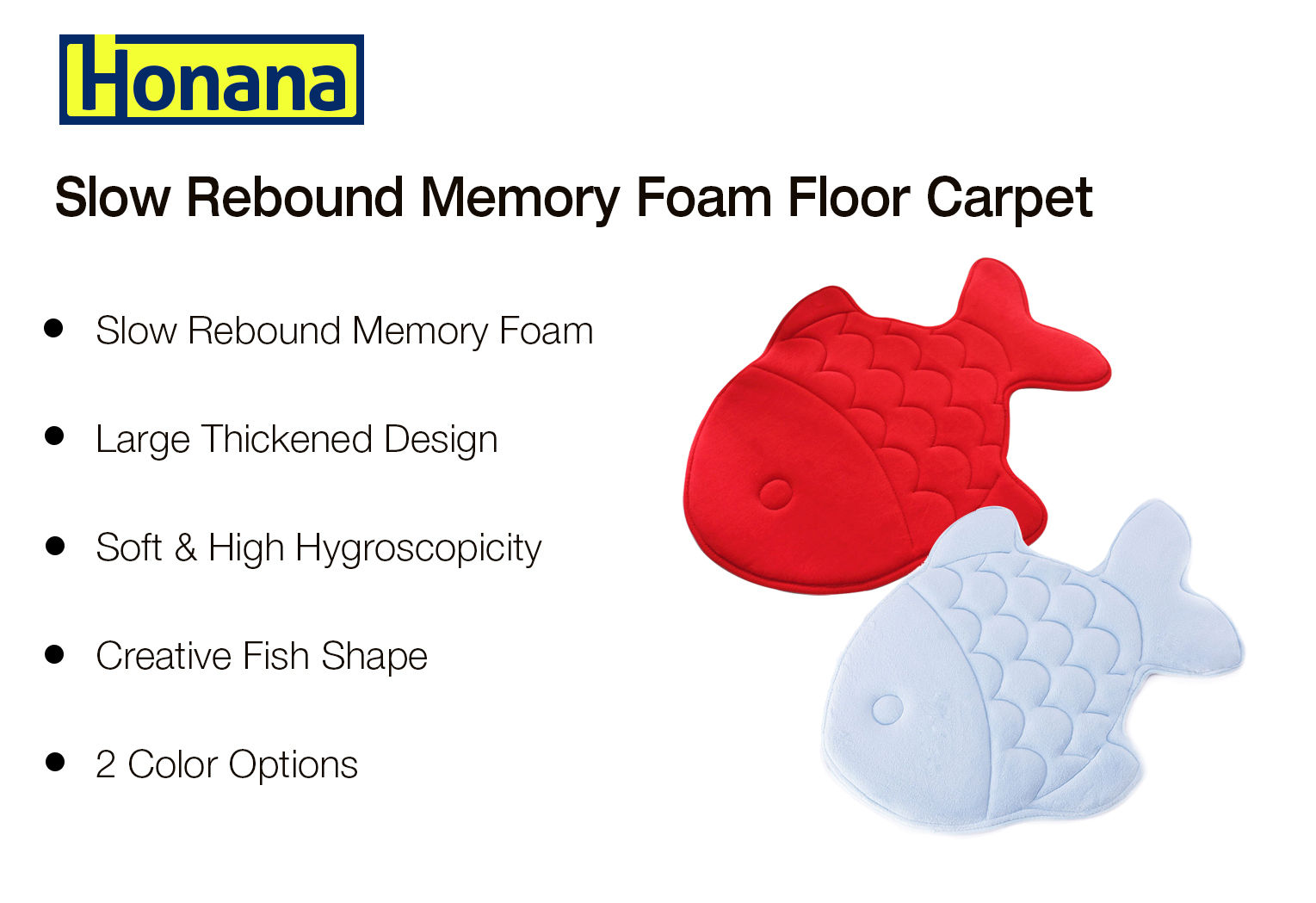 Honana Fish Shape Soft Coral Velvet Slow Rebound Memory Foam Absorbent Antiskid Bathroom Carpet Doormat