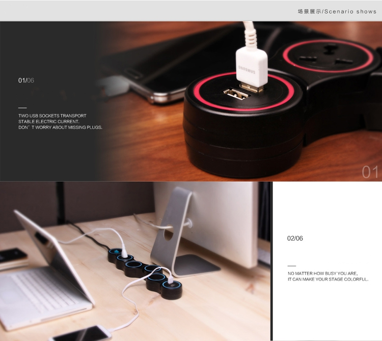 Original D-park Deformation Rotate 120 degree Dual USB 2A 4 US Ports 1.5m Power Cord Charger Socket