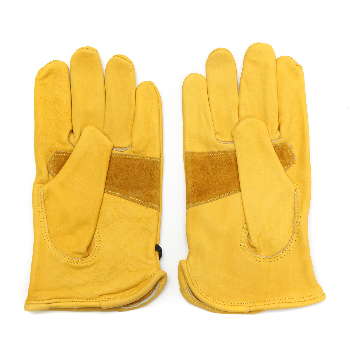 Vintage Leather Yellow Motorcycle Motorbike Sport Racing Gloves S M L XL