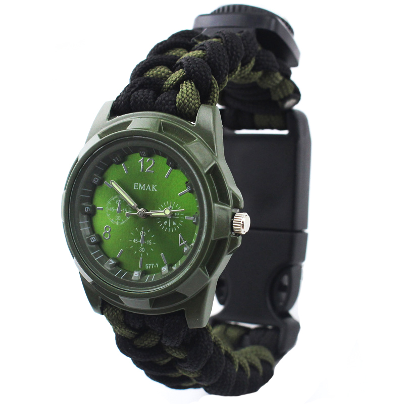 IPRee 4 In 1 EDC Survival Compasss Bracelet Watch Camp