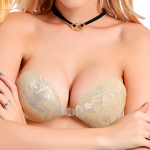 A-D Cup Front Closure Lace Invisible Silicone Nu Bra