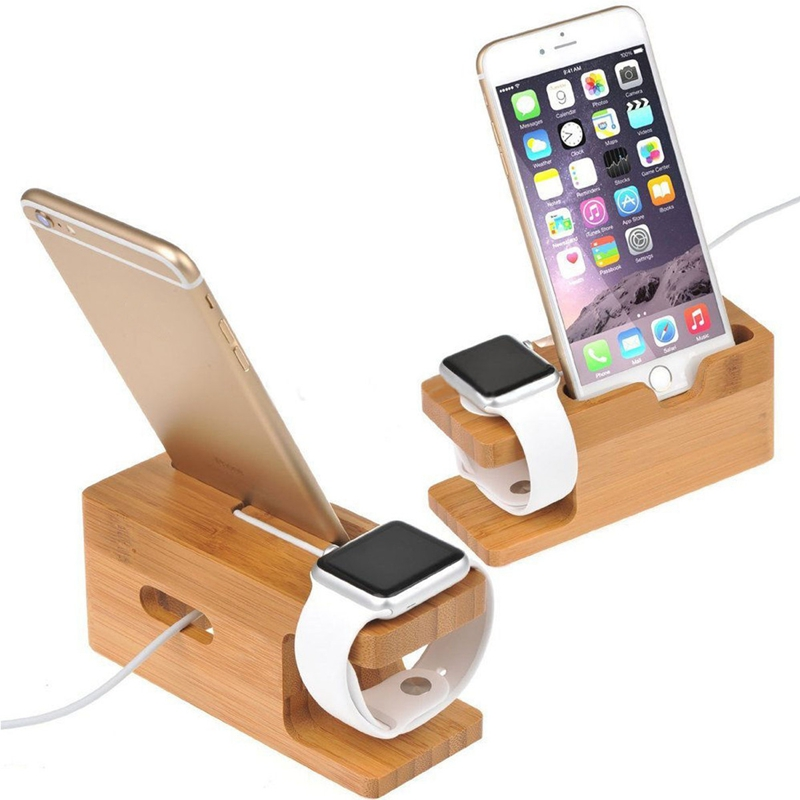Bamboo Wood Charging Station Holder For Apple Watch 38/
