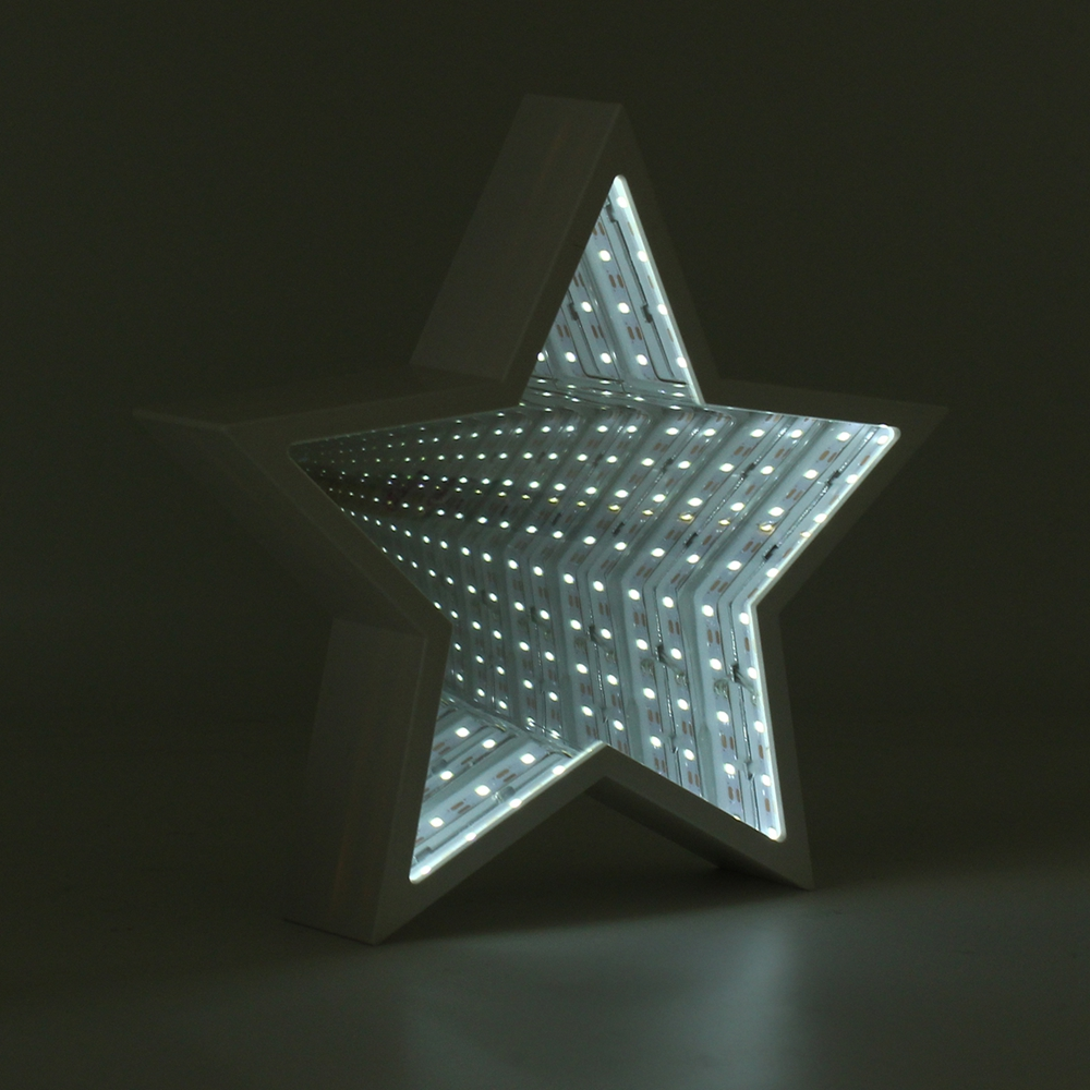 Creative Cute Star Mirror Lamp LED Tunnel Night Light for Kid Gift Atmosphere Light White/Warm White