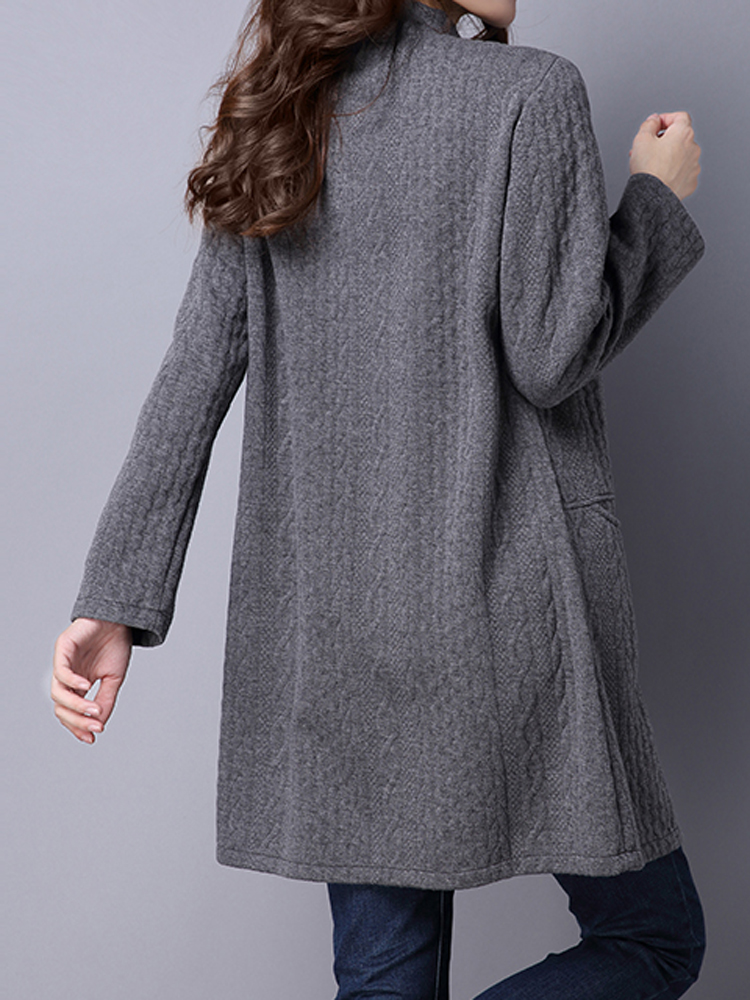 National Wind Solid Jacquard Stand Collar Long Sleeve Coat