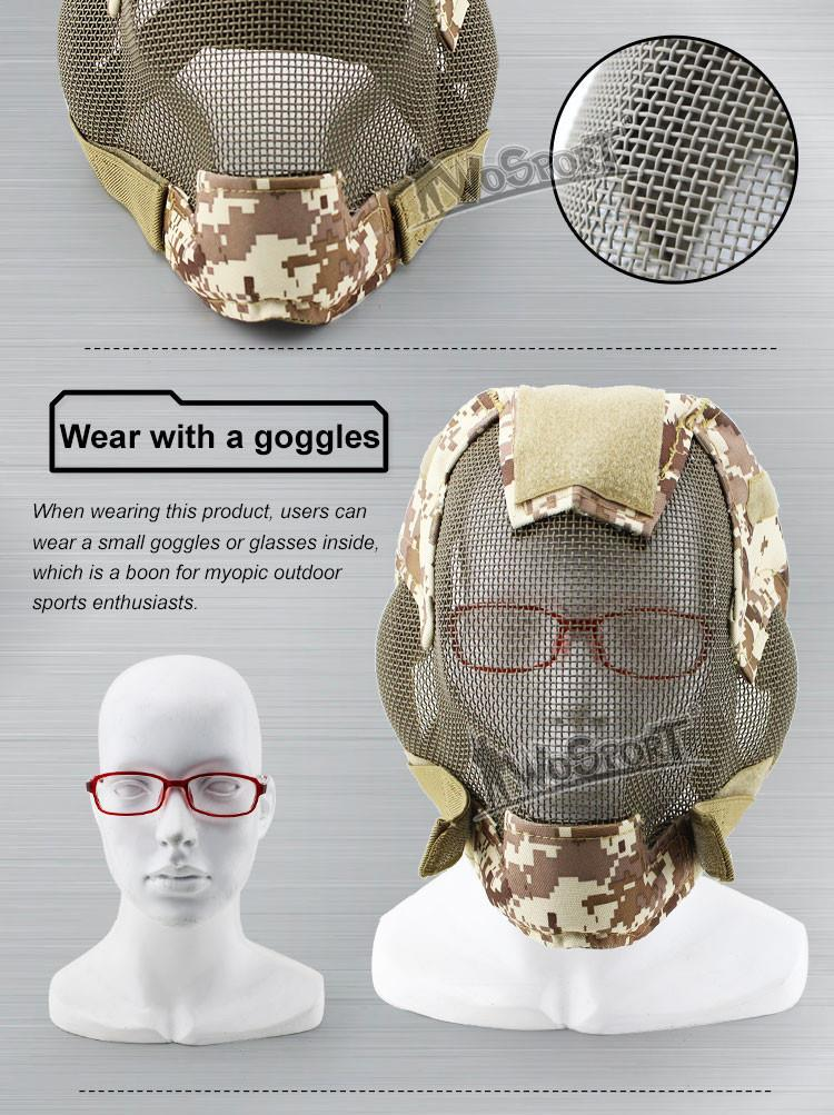 WOSPORT V6 Military Airsoft Paintball Tactical Protection Steel Mesh Full Face Mask