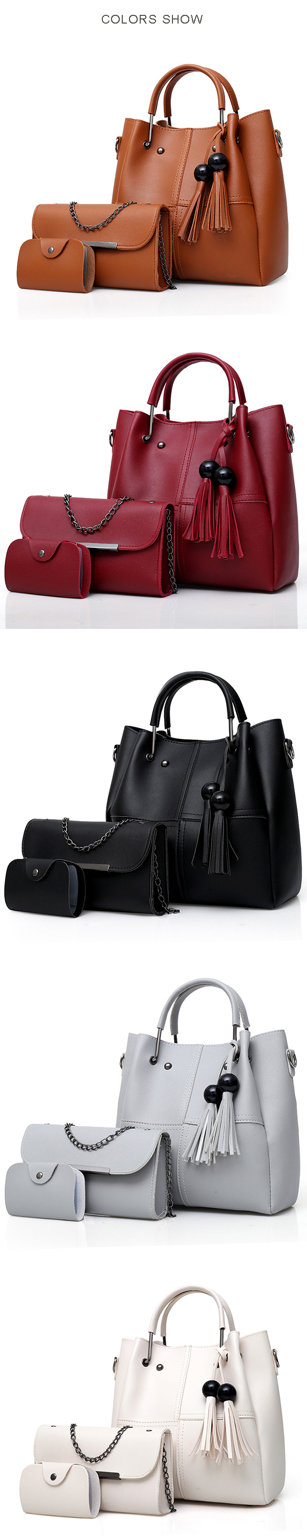 Fashion Handbag Messenger Bag Three-piece Tassel Mother Bag
