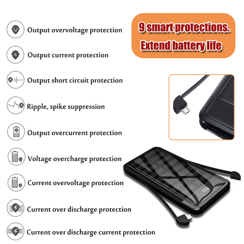 20000mAh Portable Waterproof USB Battery Charger Solar Power Bank For Mobile Phone