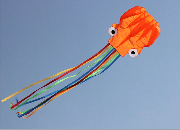 5.5m Soft 3D Octopus Kite Folding Portable Toy Kite For Kids Outdoor Game