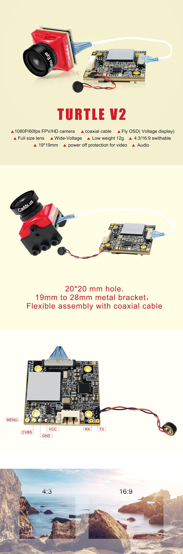 Caddx Turtle V2 800TVL 1.8mm 1080p 60fps NTSC/PAL Switchable Mini HD FPV Camera w/ DVR Red