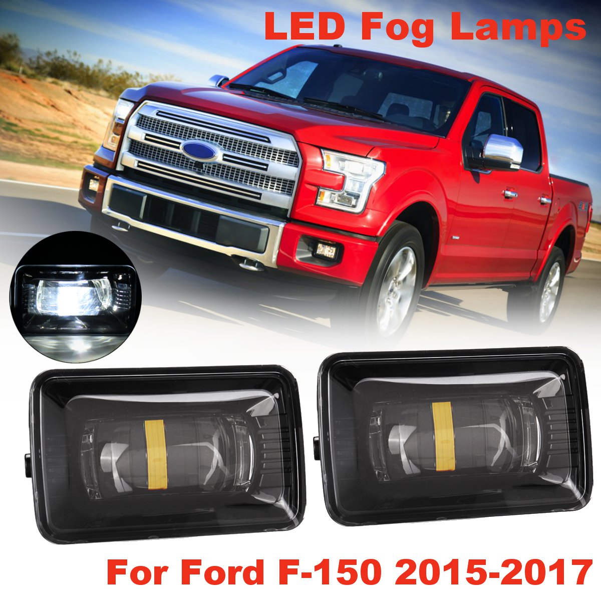 Pair Front Bumper LED Fog Lights Lamps for Ford F-150 2015-2017