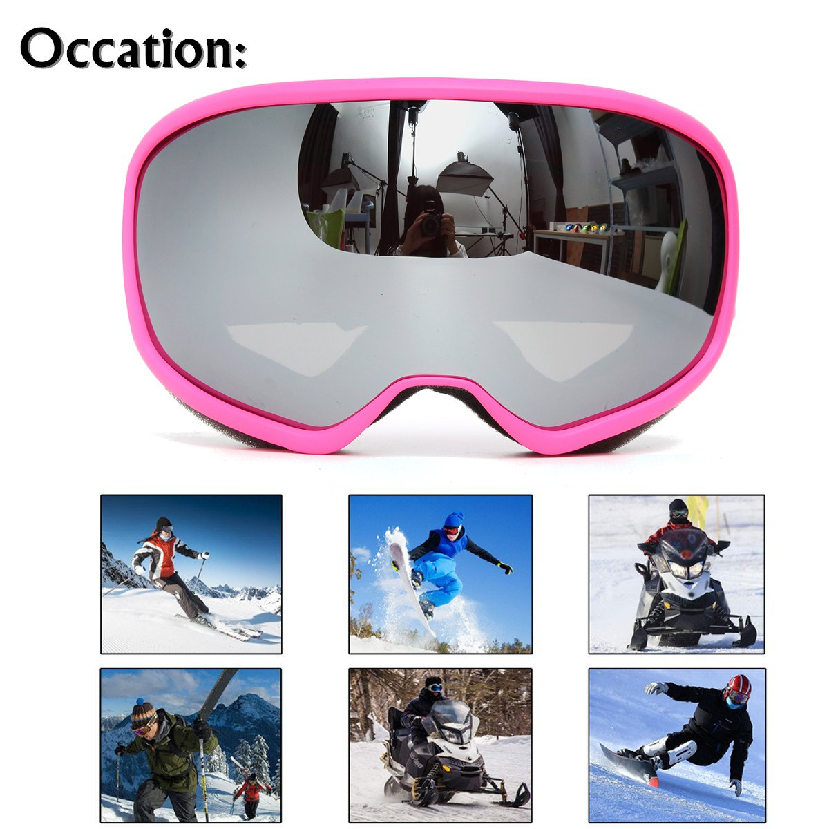 Pink Skiing Goggles Double Lens Anti Fog UV Snowboard Snowmobile Motorcycle Glasses