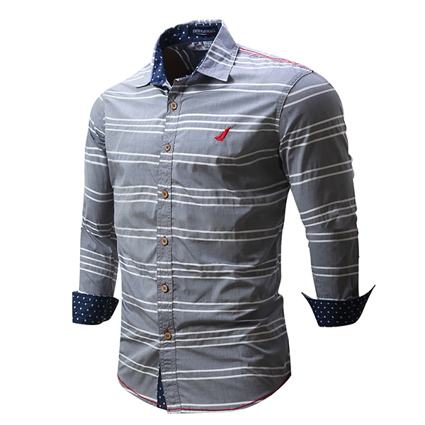 Mens Casual Stripe Printed Long-sleeved Cotton Lapel Shirts
