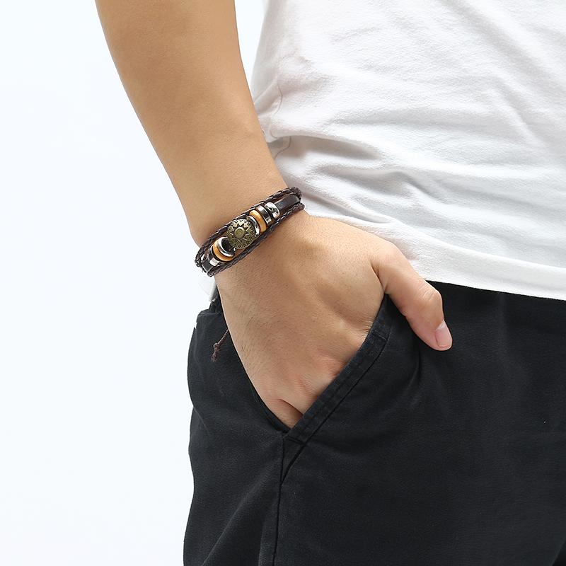 Men Women Punk Bracelet Vintage Leather Round Woven Bracelet Unisex